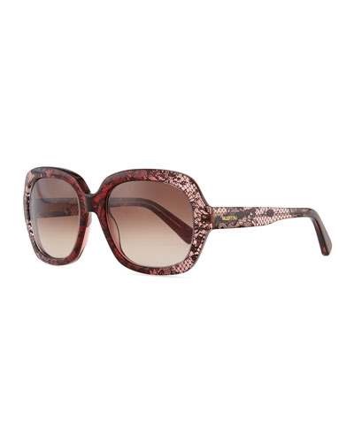Valentino Rounded Lace-Frame Sunglasses, Bordeaux/Multi