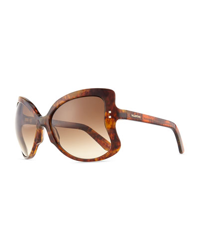Valentino Oversized Butterfly Sunglasses, Brown Tortoise