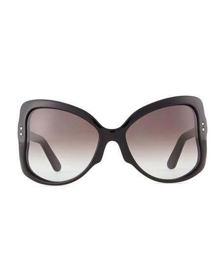 Oversized Butterfly Sunglasses, Black