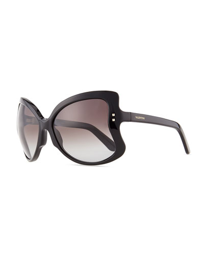 Valentino Oversized Butterfly Sunglasses, Black