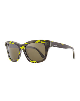 Valentino Camo Resin Sunglasses with Rockstud Temple, Yellow