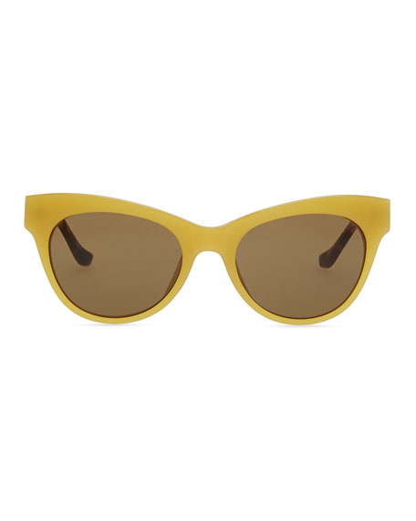 Row 36 Acetate Cat-Eye Leather-Arm Sunglasses, Gold