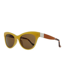 THE ROW Row 36 Acetate Cat-Eye Leather-Arm Sunglasses, Gold