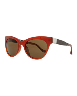 THE ROW Row 36 Acetate Cat-Eye Leather-Arm Sunglasses, Rust