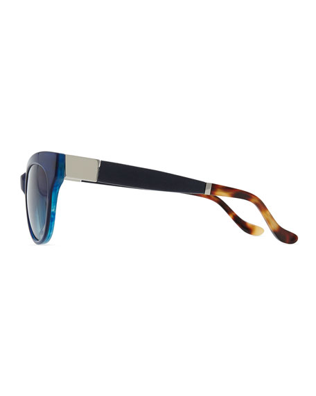 Row 36 Acetate Cat-Eye Leather-Arm Sunglasses, Imperial Blue