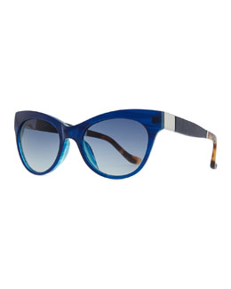 THE ROW Row 36 Acetate Cat-Eye Leather-Arm Sunglasses, Imperial Blue