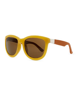 THE ROW Row 7 Leather-Arm Plastic Sunglasses, Gold