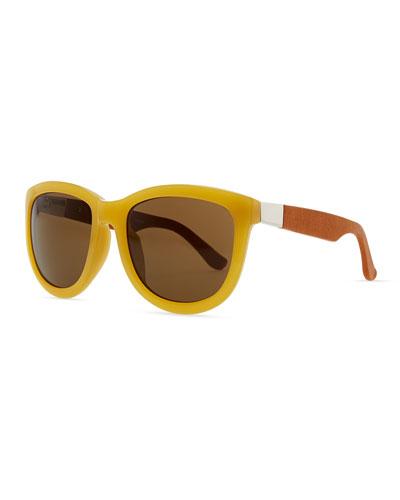 THE ROW Row 7 Leather-Arm Plastic Sunglasses, Gold