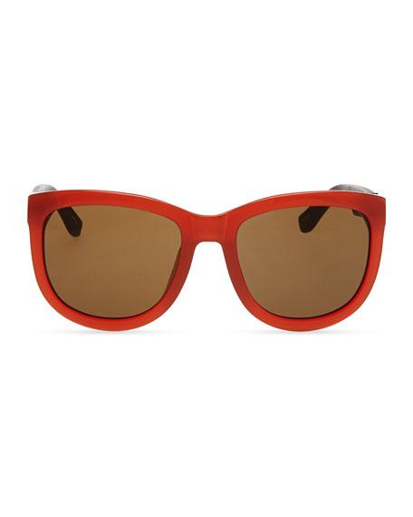 Row 7 Leather-Arm Plastic Sunglasses, Rust