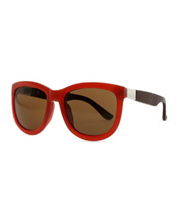 THE ROW Row 7 Leather-Arm Plastic Sunglasses, Rust