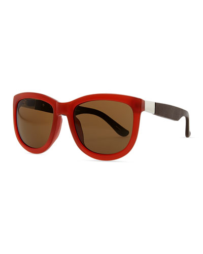 THE ROW Row 7 Leather-Arm Plastic Sunglasses, Rust