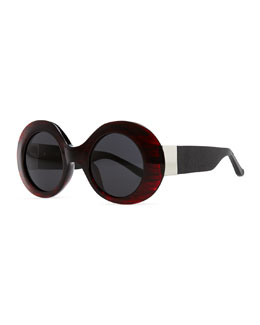 THE ROW Row 48 Thick Plastic Oval Sunglasses, Dark Red