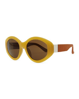 THE ROW Row 71 Thick Plastic Oval Sunglasses, Gold