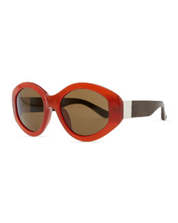 THE ROW Row 71 Thick Plastic Oval Sunglasses, Rust