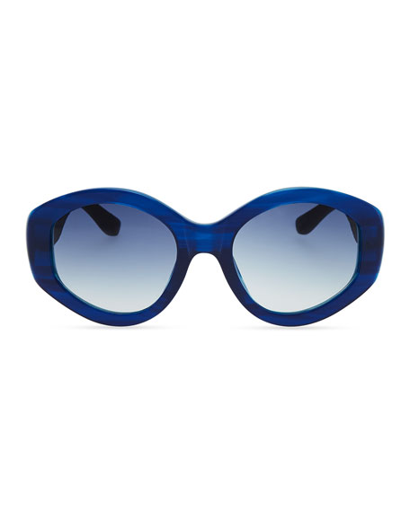 Row 71 Thick Plastic Oval Sunglasses, Imperial Blue