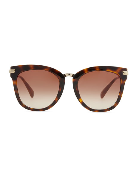 Acetate & Golden Metal Round Sunglasses, Tortoise/Pink