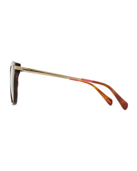 Acetate & Golden Metal Round Sunglasses, Tortoise/Pink