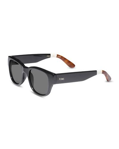 TOMS Eyewear Plastic Rectangular Sunglasses, Tortoise/Orange