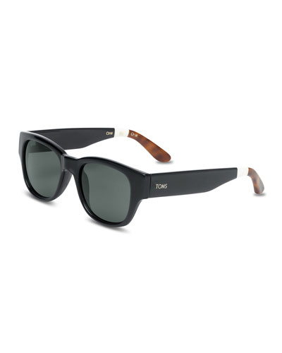 TOMS Eyewear Plastic Rectangular Sunglasses, Black
