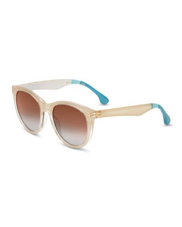 TOMS Eyewear Transparent Plastic Sunglasses, Nude/Blue