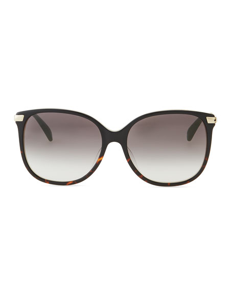 Oversized Tortoise Plastic/Metal Sunglasses, Brown/Gold