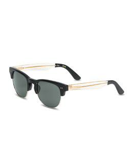 TOMS Eyewear Half-Rim Metal/Plastic Sunglasses, Black/Gold