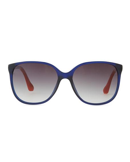 Oversized Plastic Sunglasses, Indigo
