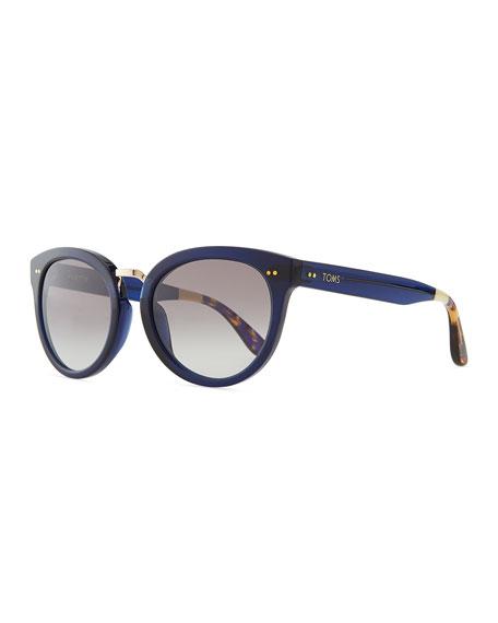 Rounded Plastic/Metal Sunglasses, Indigo