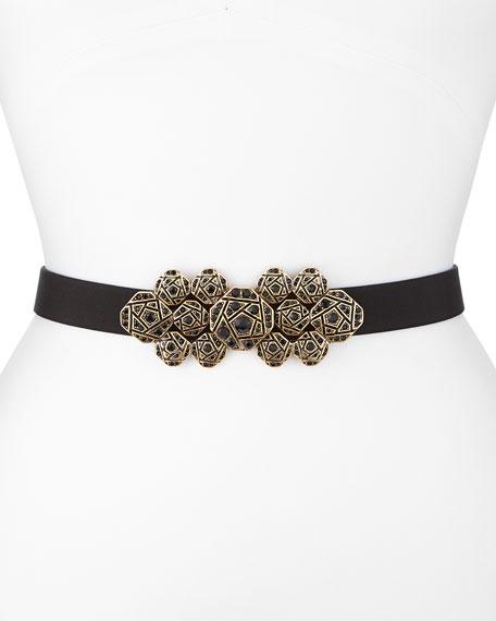 Faille Crystal-Buckle Waist Belt, Black