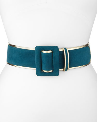 Oscar de la Renta Wide Bicolor Suede Belt, Forest Green/Gold