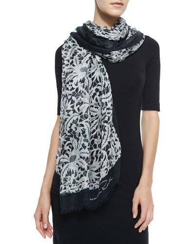 Oscar de la Renta Lace Printed Scarf, Black/White