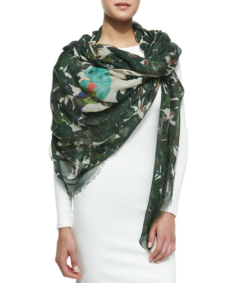 Parrot Print Scarf, Forest Green