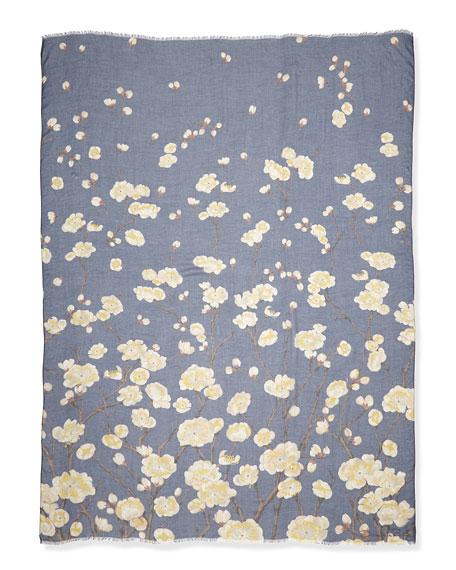 Cherry Blossom Print Scarf, Navy