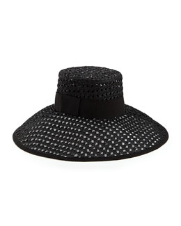kate spade new york crochet wide-brim sun hat, black