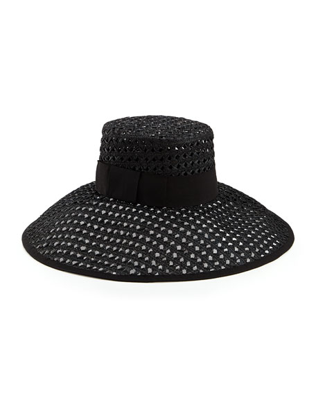 crochet wide-brim sun hat, black