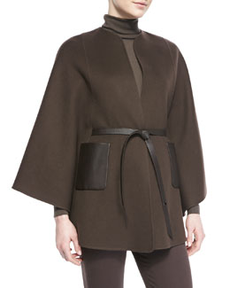 Loro Piana Andana Cashmere & Leather Cape, Chocolate
