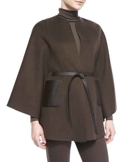 Andana Cashmere & Leather Cape, Chocolate