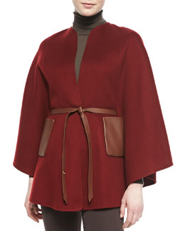 Loro Piana Andana Cashmere & Leather Cape, Bourgogne Burgundy
