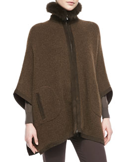 Loro Piana Dusseldorf Fox Fur-Trimmed Cashmere Poncho, Chocolate Brown