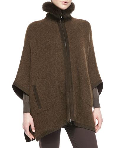 Loro Piana Dusseldorf Fox Fur-Trimmed Cashmere Poncho, Chocolate Brown