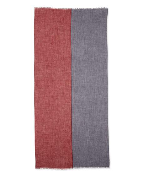 Opposite Cashmere-Silk Soffio Scarf, Scarlet