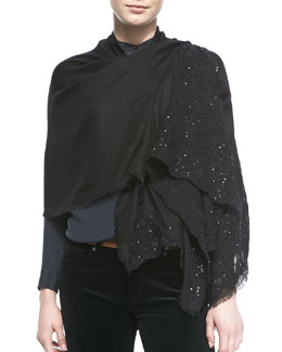 Loro Piana Crystal Bloom Cashmere-Silk Stole, Black