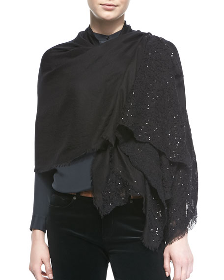 Crystal Bloom Cashmere-Silk Stole, Black