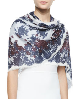 Erdem Midnight Lace-Print Stole