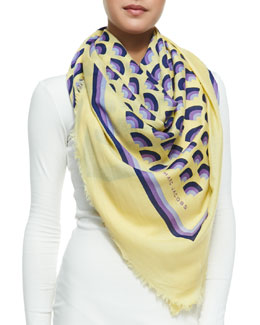 Marc Jacobs Geometric Fan-Print Scarf, Yellow/Multi