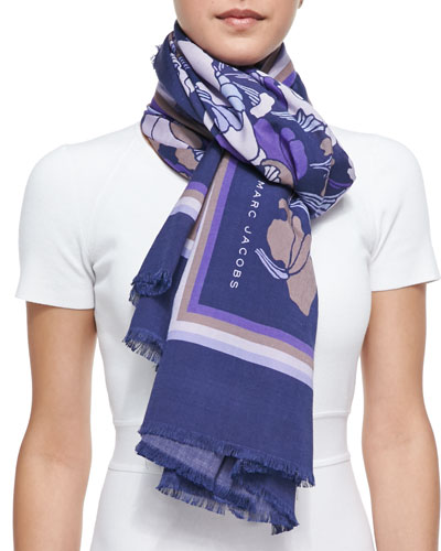 Marc Jacobs Forest Printed Scarf, Lilac/Multi