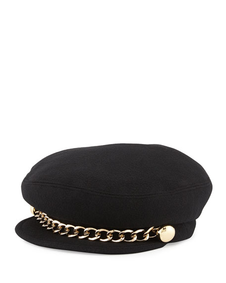 Marina Schoolboy Hat with Chain, Black