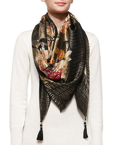 Etro Metallic Floral Wrap with Tassle, Black
