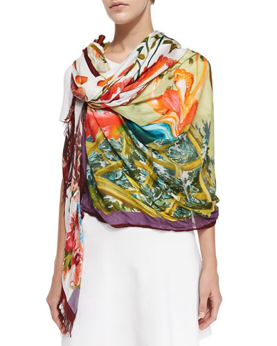 Scenic Printed Wrap, Pink/Multi
