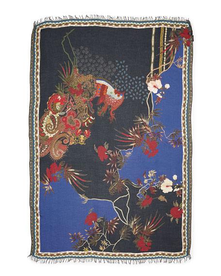Etro Rooster-Floral Print Fringe Scarf, Black-Navy